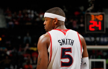 ATLANTA, GA - FEBRUARY 12:  Josh Smith #5 of the Atlanta Hawks waits for an inbounds pass by the Charlotte Bobcats at Philips Arena on February 12, 2011 in Atlanta, Georgia.  NOTE TO USER: User expressly acknowledges and agrees that, by downloading and/or