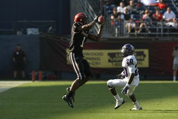 SAN DIEGO - NOVEMBER 07:  Wide receiver DeMarco Sampson #1 of  the San Diego State Aztecs makes a catch against cornerback Nick Sanders #20 ofthe Texas Christian University Horned Frogs on November 7, 2009 at Qualcomm Stadium in San Diego, California.   T