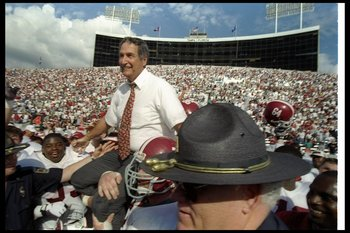 1 Jan 1997:  Alabama Crimson Tide head coach Gene Stallings celebrates after the Outback Bowl against the Michigan Wolverines in Tampa, Florida.  Alabama won the game, 17-14. Mandatory Credit: Jamie Squire  /Allsport