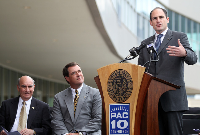 BOULDER, CO - JUNE 11: (R-L) PAC-10 Commissioner Larry Scott speaks as Colorado Athletic Director Mike Bohn and University of Colorado Chancellor Phil DiStefano listen during a press conference at Folsom Stadium on June 11, 2010 in Boulder, Colorado. The