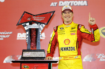 DAYTONA BEACH, FL - FEBRUARY 12:  Kurt Busch, driver of the #22 Shell/Pennzoil Dodge, poses in victory lane after winning the NASCAR Budweiser Shootout at Daytona International Speedway on February 12, 2011 in Daytona Beach, Florida.  (Photo by Jerry Mark