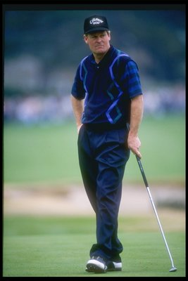 4 Feb 1995:  Johnny Miller looks on during the AT&T Pebble Beach National Pro-Am in Monterrey, California. Mandatory Credit: Stephen Dunn  /Allsport