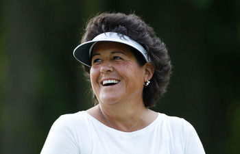 PITTSFORD, NY - JUNE 23:  Nancy Lopez smiles as she walks off a green during a practice round prior to the start of the LPGA Championship presented by Wegman's 2010 at the Locust Hill Country Club on June 23, 2010 in Pittsford, New York  (Photo by Scott H