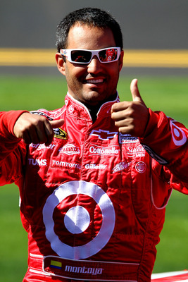 DAYTONA BEACH, FL - FEBRUARY 13:  Juan Pablo Montoya, driver of the #42 Target Chevrolet, looks on during qualifying for the NASCAR Sprint Cup Series Daytona 500 at Daytona International Speedway on February 13, 2011 in Daytona Beach, Florida.  (Photo by