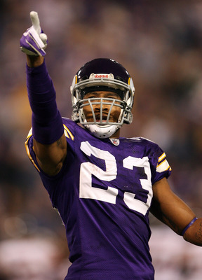 MINNEAPOLIS - NOVEMBER 29:  Cedric Griffin #23 of the Minnesota Vikings celebrates after he intercepted a  pass in the endzone in the first half against the Chicago Bears on November 29, 2009 at Hubert H. Humphrey Metrodome in Minneapolis, Minnesota.  (Ph
