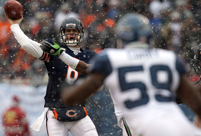 CHICAGO, IL - JANUARY 16:  Quarterback Jay Cutler #6 of the Chicago Bears throws the ball in the second quarter against the Seattle Seahawks in the 2011 NFC divisional playoff game at Soldier Field on January 16, 2011 in Chicago, Illinois.  (Photo by Jona