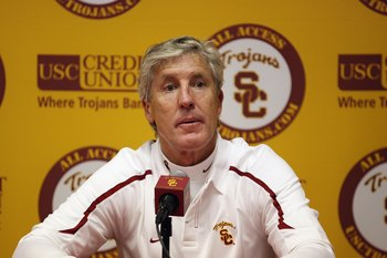 LOS ANGELES, CA - OCTOBER 24:  Head coach Pete Carroll of the USC Trojans listens to a question from a member of the media at a post game press conference following the game against the UCLA Bruins on November 28, 2009 at the Los Angeles Coliseum in Los A