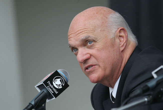 NEWARK, NJ - JULY 20: General Manager Lou Lamoriello of the New Jersey Devils speaks with the media during a press conference regarding Ilya Kovalchuk's contract renewal at the Prudential Center on July 20, 2010 in Newark, New Jersey. (Photo by Bruce Benn