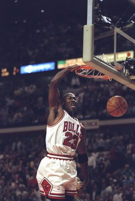19 May 1998:  Michael Jordan #23 of the Chicago Bulls slam dunks the ball during an Eastern Conference Final game against the Indiana Pacers at the United Center in Chicago, Illinois. The Bulls defeated the Pacers 104-98. Mandatory Credit: Jonathan Daniel