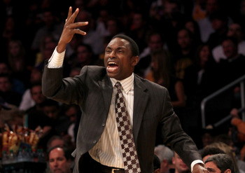LOS ANGELES, CA - JANUARY 14:  Head coach Avery Johnson of the New Jersey Nets shouts instructions in the game with the Los Angeles Lakers at Staples Center on January 14, 2011 in Los Angeles, California.  NOTE TO USER: User expressly acknowledges and agr