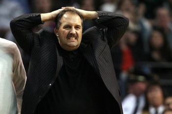 BOSTON, MA - FEBRUARY 06:  Head coach Stan Van Gundy of the Orlando Magic reacts as his team sets up a play in the fourth quarter against the Boston Celtics on February 6, 2011 at the TD Garden in Boston, Massachusetts. The Celtics defeated the Magic 91-8
