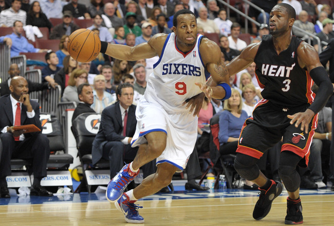 PHILADELPHIA - OCTOBER 27: Andre Iguodala #9 of the Philadelphia 76ers in action during the game against the Miami Heat at the Wells Fargo Center on October 27, 2010 in Philadelphia, Pennsylvania. NOTE TO USER: User expressly acknowledges and agrees that,
