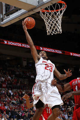 COLUMBUS, OH - NOVEMBER 26: David Lighty #23 of the Ohio State Buckeyes goes up for two of his game-high 21 points against the Miami RedHawks at Value City Arena on November 26, 2010 in Columbus, Ohio. Ohio State won 66-45. (Photo by Joe Robbins/Getty Ima