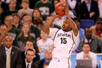 INDIANAPOLIS - APRIL 03:  Durrell Summers #15 of the Michigan State Spartans shoots the ball against the Butler Bulldogs during the National Semifinal game of the 2010 NCAA Division I Men's Basketball Championship on April 3, 2010 in Indianapolis, Indiana