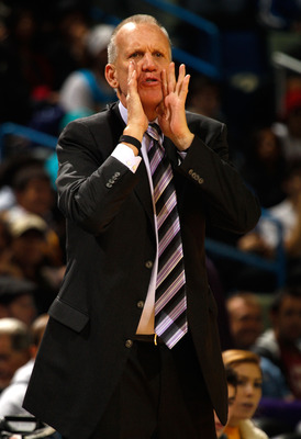 NEW ORLEANS, LA - JANUARY 03:  Head coach Doug Collins of the Philadelphia 76ers calls out in the second half against the New Orleans Hornets at New Orleans Arena on January 3, 2011 in New Orleans, Louisiana. NOTE TO USER: User expressly acknowledges and