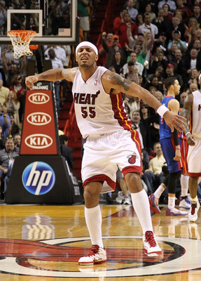MIAMI, FL - JANUARY 28: Eddie House #55 of the Miami Heat celebrates after making a big free throw during a game against the Detroit Pistons at American Airlines Arena on January 28, 2011 in Miami, Florida. NOTE TO USER: User expressly acknowledges and ag