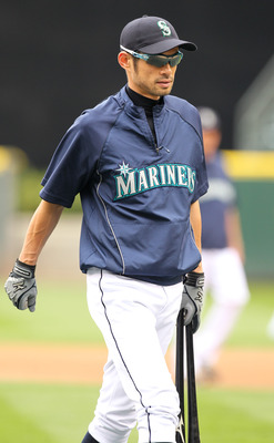 SEATTLE - SEPTEMBER 15:  Ichiro Suzuki #51 of the Seattle Mariners smiles during batting practice prior to the game against the Boston Red Sox at Safeco Field on September 15, 2010 in Seattle, Washington. (Photo by Otto Greule Jr/Getty Images)