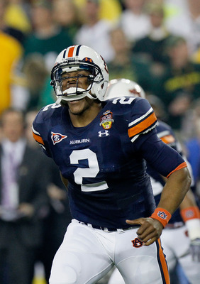 GLENDALE, AZ - JANUARY 10:  Cameron Newton #2 of the Auburn Tigers reacts during their game against the Oregon Ducks during the Tostitos BCS National Championship Game at University of Phoenix Stadium on January 10, 2011 in Glendale, Arizona.  (Photo by K