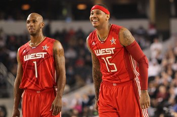 ARLINGTON, TX - FEBRUARY 14:  Chauncey Billups #1 and Carmelo Anthony #15 of the Western Conference look on during the second half of the NBA All-Star Game, part of 2010 NBA All-Star Weekend at Cowboys Stadium on February 14, 2010 in Arlington, Texas. The