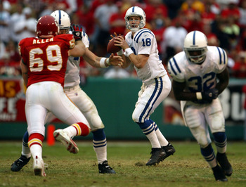 KANSAS CITY, MO - OCTOBER 31:  Quarterback Peyton Manning #18 of the Indianapolis Colts drops back to pass against the Kansas City Chiefs on October 31, 2004 at Arrowhead Stadium in Kansas City, Missouri. The Chiefs defeated the Colts 45-35.  (Photo by Je