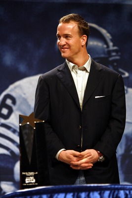 MIAMI BEACH, FL - FEBRUARY 5:  Quarterback Peyton Manning of the Super Bowl champion Indianapolis Colts is awarded the Superbowl XLI MVP award and a new 2007 Cadillac at the Miami Beach Convention Center on February 5, 2007 in Miami Beach, Florida.  (Phot