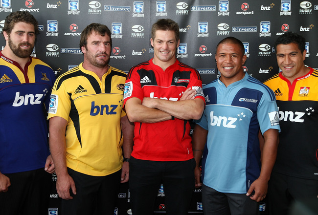 AUCKLAND, NEW ZEALAND - FEBRUARY 08: New Zealand Super Rugby Captains (L-R) Jamie McIntosh of the Highlanders, Andrew Hore of the Hurricanes, Richie McCaw of the Crusaders, Keven Mealamu of the Blues and Mils Muliaina of the Chiefs pose during the 2011 Su