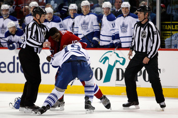 MONTREAL, CANADA - FEBRUARY 12:  P.K. Subban #76 of the Montreal Canadiens and Joffrey Lupul #19 of the Toronto Maple Leafs fight during the NHL game at the Bell Centre on February 12, 2011 in Montreal, Quebec, Canada.  (Photo by Richard Wolowicz/Getty Im
