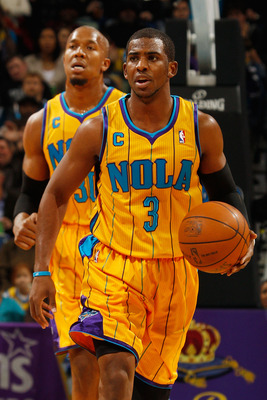 NEW ORLEANS, LA - JANUARY 22:  Chris Paul #3 of the New Orleans Hornets drives the ball up the court during the game against the San Antonio Spurs at the New Orleans Arena on January 22, 2011 in New Orleans, Louisiana.  The Hornets defeated the Spurs 96-7