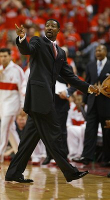 TORONTO,ON - APRIL 24:  Head Coach Sam Mitchell of the Toronto Raptors expresses his point of view against the Orlando Magic in Game 3 of the Eastern Conference Quarterfinals on April 24, 2008 at the Air Canada Centre in Toronto, Ontario. The Raptors defe