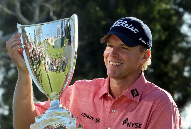 PACIFIC PALISADES, CA - FEBRUARY 07: Steve Stricker poses with the trophy after winning the Northern Trust Open at Riviera Country Club on February 7, 2010 in Pacific Palisades, California. (Photo by Jeff Gross/Getty Images)
