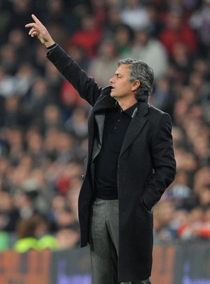 MADRID, SPAIN - FEBRUARY 06:  Head coach Jose Mourinho of Real Madrid manages his side during the La Liga match between Real Madrid and Real Sociedad at Estadio Santiago Bernabeu on February 6, 2011 in Madrid, Spain.  (Photo by Denis Doyle/Getty Images)