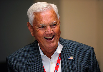 CHARLOTTE, NC - OCTOBER 13:   NASCAR Hall of Famer Junior Johnson laughs during NASCAR Hall of Fame Voting Day at the NASCAR Hall of Fame on October 13, 2010 in Charlotte, North Carolina.  (Photo by Rusty Jarrett/Getty Images for NASCAR)