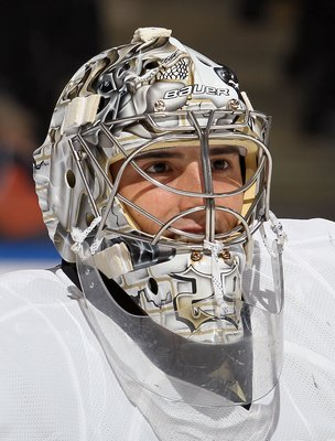UNIONDALE, NY - FEBRUARY 11:  Marc-Andre Fleury #29 of the Pittsburgh Penguins skates against the New York Islanders on February 11, 2011 at Nassau Coliseum in Uniondale, New York. The Isles defeated the Pens 9-3.  (Photo by Jim McIsaac/Getty Images)