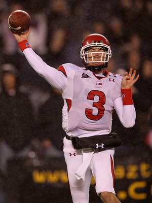 SAN DIEGO - NOVEMBER 20:  Quarterback Jordan Wynn #3 of the Utah Utes throws a pass against the San Diego State Aztecs at Qualcomm Stadium on November 20, 2010 in San Diego, California.  (Photo by Stephen Dunn/Getty Images)