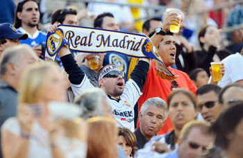 PASADENA, CA - AUGUST 07:  fans cheer for Real Madrid during their pre-season friendly soccer match against Los Angeles Galaxy on August 7, 2010 at the Rose Bowl in Pasadena, California. Real Madrid will travel back to Spain after the soccer match complet