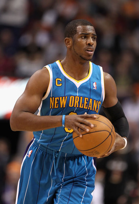 PHOENIX, AZ - JANUARY 30:  Chris Paul #3 of the New Orleans Hornets during the NBA game against  the Phoenix Suns at US Airways Center on January 30, 2011 in Phoenix, Arizona.  The Suns defeated the Hornets 104-102. NOTE TO USER: User expressly acknowledg
