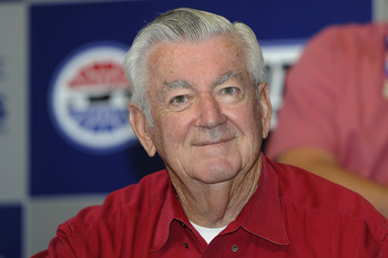 CONCORD, NC - OCTOBER 16:  NASCAR Past Champion, Bobby Allison speaks to the media prior to the NASCAR Sprint Cup Series Bank of America 500 at Charlotte Motor Speedway on October 16, 2010 in Concord, North Carolina.  (Photo by John Harrelson/Getty Images