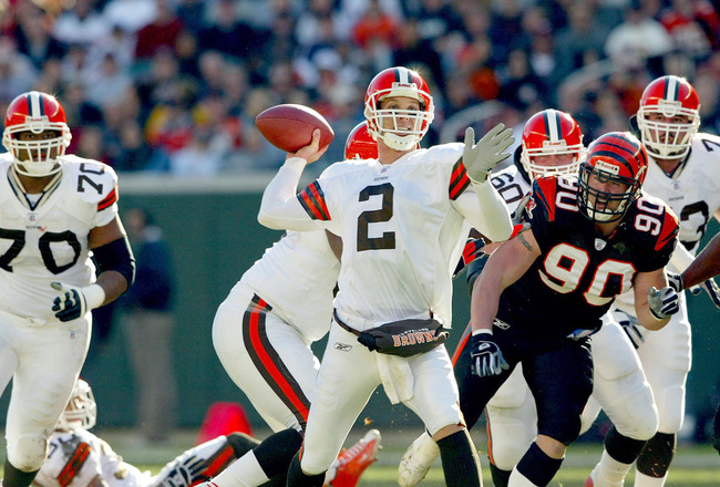 CINCINNATI - DECEMBER 28:  Tim Couch #2 of the Cleveland Browns throws the ball against the Cincinnati Bengals on December 28, 2003 at Paul Brown Stadium in Cincinnati, Ohio. The Browns won 22-14.  (Photo by Andy Lyons/Getty Images)