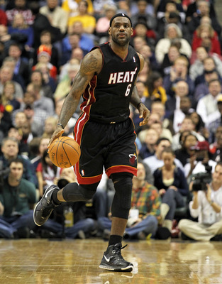 INDIANAPOLIS - FEBRUARY 15:  LeBron James #6 of the Miami Heat dribbbles the ball during the NBA game against the Indiana Pacers at Conseco Fieldhouse on February 15, 2011 in Indianapolis, Indiana.   The Heat won 110-103.   NOTE TO USER: User expressly ac