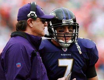 MIAMI - DECEMBER 16:  Head coach Brian Billick of the Baltimore Ravens talks with quarterback Kyle Boller #7 while taking on the Miami Dolphins at Dolphin Stadium December 16, 2007 in Miami, Florida. The Dolphins defeated the Ravens 22-16 for their first