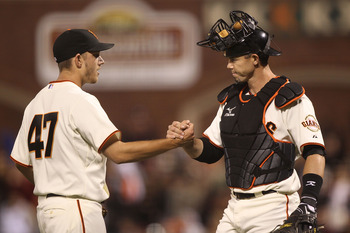 SAN FRANCISCO - SEPTEMBER 16: Chris Ray #47 of the San Francisco Giants celebrates with Eli Whiteside #22 after defeating the Los Angeles Dodgers during a Major League Baseball game at AT&T Park on September 16, 2010 in San Francisco, California. (Photo b