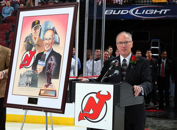 "The Devils celebrated Mike ""Doc"" Emrick's election to the Hockey Hall of Fame before face-off on January 30, 2009."
