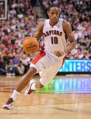 TORONTO, CAN - FEBRUARY 16:  DeMar DeRozan #10 of the Toronto Raptors drives with the ball a game against the Miami Heat on February 16, 2011 at the Air Canada Centre in Toronto, Canada. The Heat defeated the Raptors 103-95. (Photo by Claus Andersen/Getty