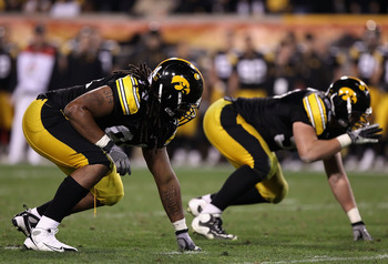 TEMPE, AZ - DECEMBER 28:  Defensive end Adrian Clayborn #94 of the Iowa Hawkeyes in action during the Insight Bowl against the Missouri Tigers at Sun Devil Stadium on December 28, 2010 in Tempe, Arizona. The Hawkeyes defeated the Tigers 27-24.  (Photo by