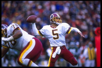 26 Nov 1995:  Quarterback Heath Shuler #5 of the Washington Redskins sets to throw during the NFC match up against the Philadelphia Eagles.  The Eagles defeated the Redskins 14-7 at RFK Stadium in Washington D.C.  Mandatory Credit:  Doug Pensinger/Allspor
