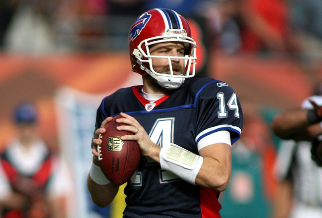 MIAMI - DECEMBER 19:  Quarterback Ryan Fitzpatrick #14 of the Buffalo Bills throws against the Miami Dolphins at Sun Life Stadium on December 19, 2010 in Miami, Florida.The Bills defeated the Dolphins 17-14.  (Photo by Marc Serota/Getty Images)