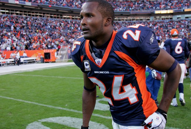 DENVER - SEPTEMBER 14:  Cornerback Champ Bailey #24 of the Denver Broncos leaves the field after facing the San Diego Chargers during NFL action at Invesco Field at Mile High on September 14, 2008 in Denver, Colorado. The Broncos defeated the Chargers 39-
