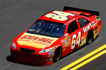 DAYTONA BEACH, FL - FEBRUARY 12:  Derrike Cope, driver of the #64 Sta-Bil Toyota, practices for the NASCAR Sprint Cup Series Daytona 500 at Daytona International Speedway on February 12, 2011 in Daytona Beach, Florida.  (Photo by Chris Graythen/Getty Imag