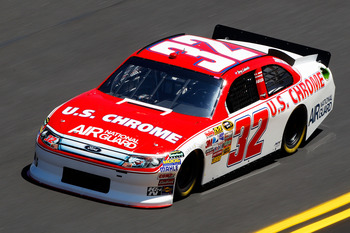 DAYTONA BEACH, FL - FEBRUARY 12:  Terry Labonte, driver of the #32 U.S. Chrome Ford, practices for the NASCAR Sprint Cup Series Daytona 500 at Daytona International Speedway on February 12, 2011 in Daytona Beach, Florida.  (Photo by Chris Graythen/Getty I