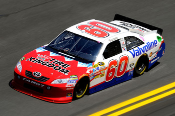 DAYTONA BEACH, FL - FEBRUARY 12:  Todd Bodine, driver of the #60 Tire Kingdom/Valvoline Toyota, practices for the NASCAR Sprint Cup Series Daytona 500 at Daytona International Speedway on February 12, 2011 in Daytona Beach, Florida.  (Photo by John Harrel